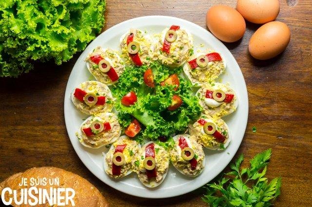 Œufs farcis au thon et mayonnaise