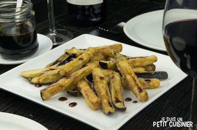 Aubergines frites à la mélasse (tapas espagnoles)