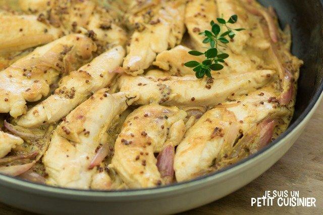 Comment faire des aiguillettes de poulet à la moutarde à l'ancienne.