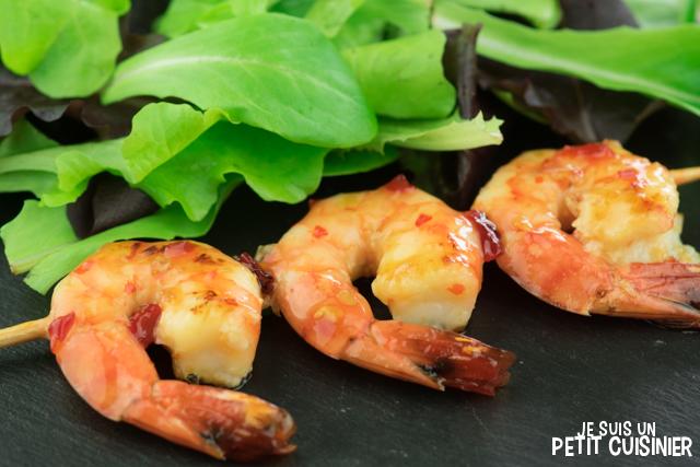 Brochettes de crevettes à la sauce piment doux