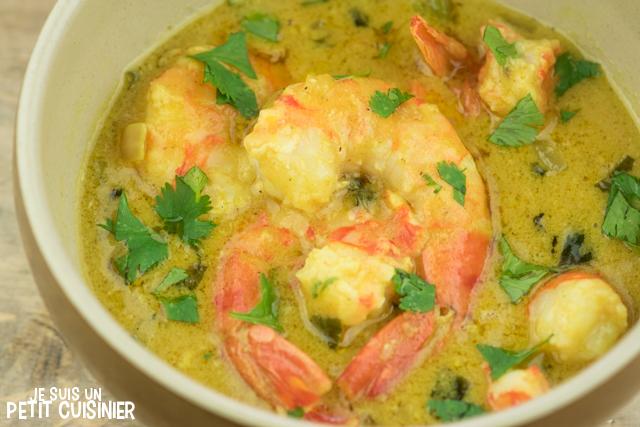 Recette de crevettes au curry.