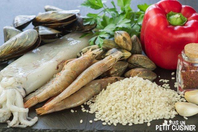 Paella aux fruits de mer (ingrédients)