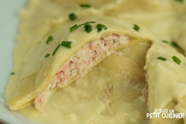 Raviolis saumon ricotta à la sauce poireaux