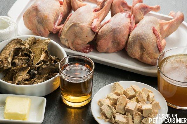 Cailles farcies au foie-gras et cèpes (ingrédients)