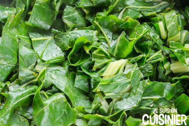 Poêlée de blettes et pommes de terre (couper le vert des blettes)