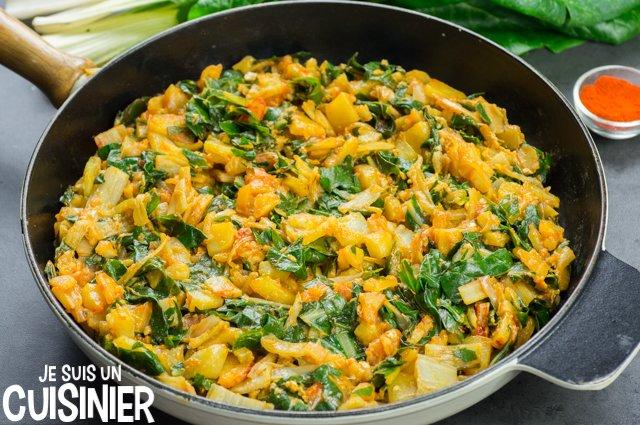 Poêlée de blettes et pommes de terre à l'ail et paprika
