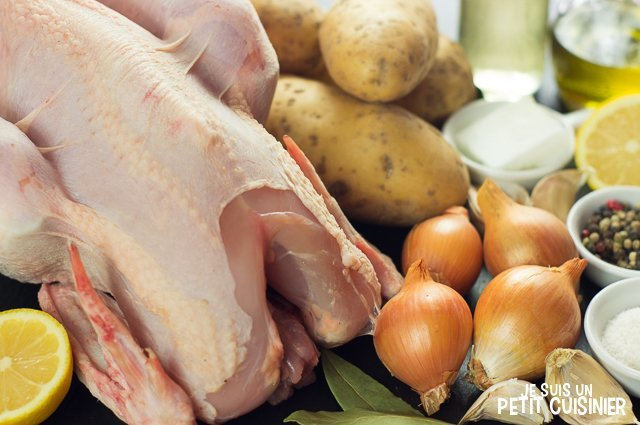 Poulet au four et pommes de terre boulangères (ingrédients)