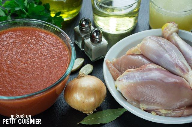 Poulet sauce tomate (ingrédients)