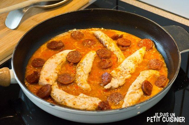 Aiguillettes de poulet au chorizo (cuisson)