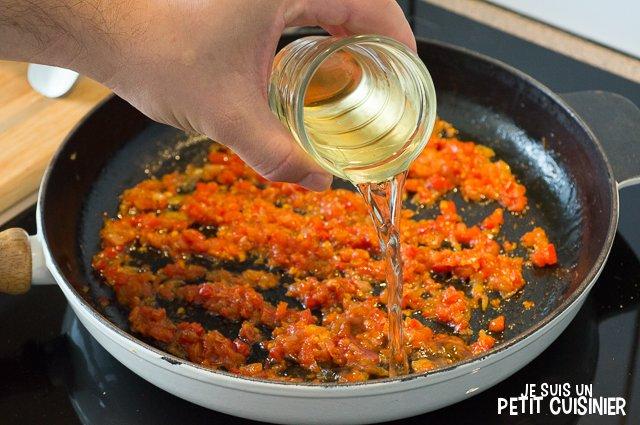 Aiguillettes de poulet au chorizo (vin lbanc)