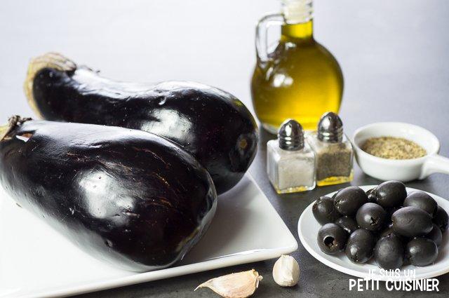 Caviar d'aubergines aux olives noires (ingrédients)