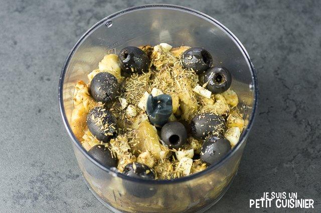 Caviar d'aubergines aux olives noires (mixeur)