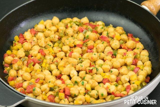 Poêlée de pois chiches aux poivrons