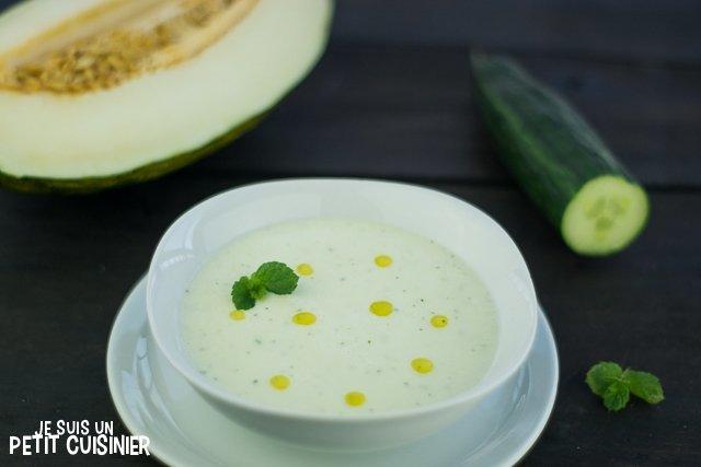 Soupe de melon vert au concombre et menthe