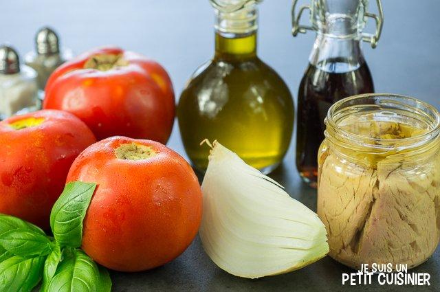Tartare de tomate au thon (ingrédients)