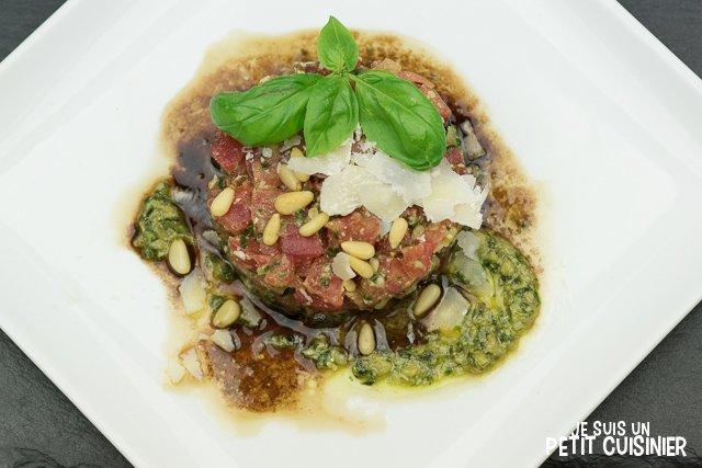 tartare de tomates au pesto de basilic