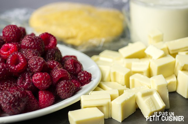 Tarte au chocolat blanc et framboises (ingrédients)