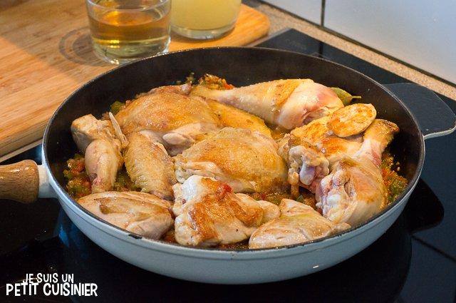 Poulet en sauce (reincorporer le poulet)