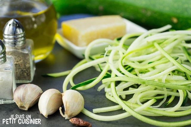 Spaghettis de courgette à l'ail (ingrédients)