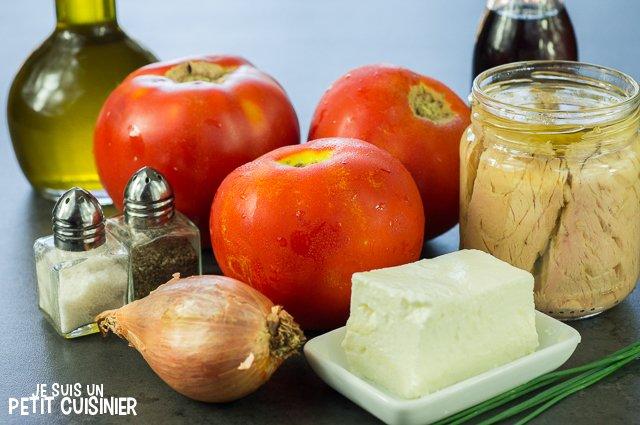 Tartare de tomate aux rillettes de thon (ingrédients)