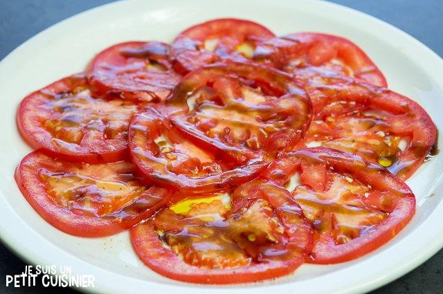 Carpaccio de tomates (vinaigre balsamique)