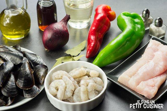 Cocktail de poisson et fruits de mer (ingrédients)