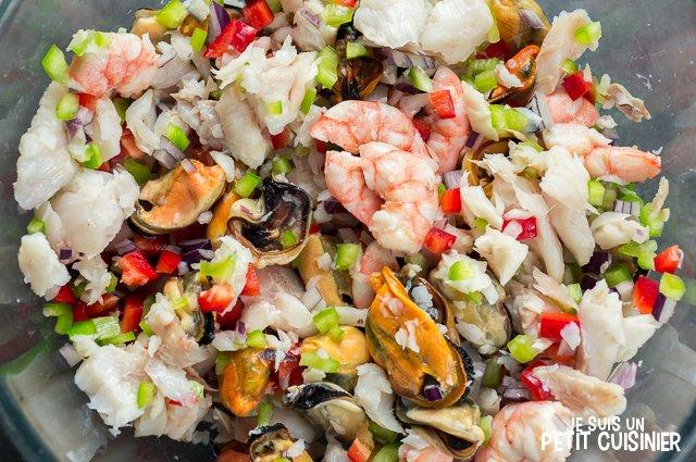 Cocktail de poisson et fruits de mer (mélanger)