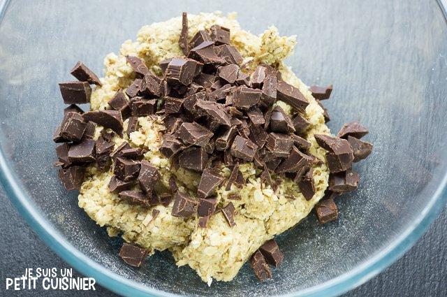 Cookies aux pépites de chocolat et flocons d'avoine (ajouter le chocolat)