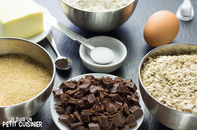 Cookies aux pépites de chocolat et flocons d'avoine (ingrédients)