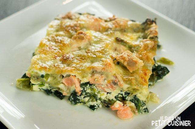Gratin de ravioles au saumon et aux épinards
