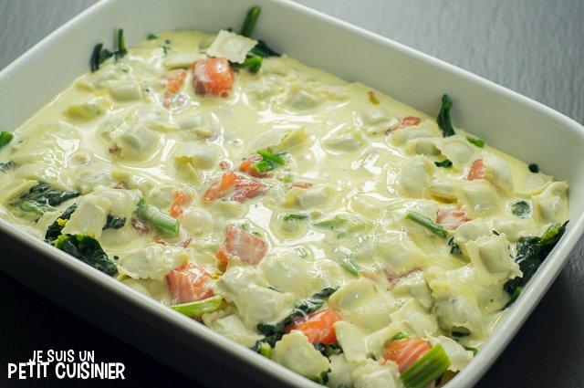 Gratin de ravioles au saumon et aux épinards (crème)