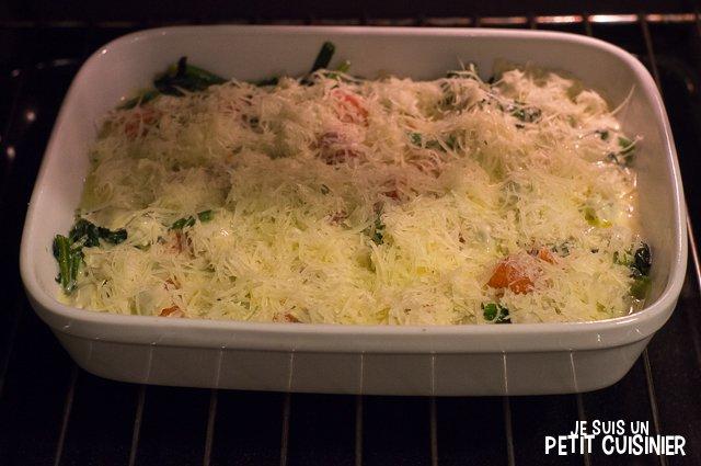 Gratin de ravioles au saumon et aux épinards (four)