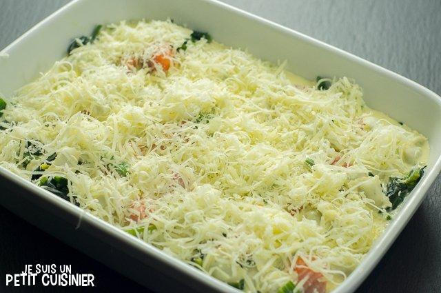 Gratin de ravioles au saumon et aux épinards (fromage)