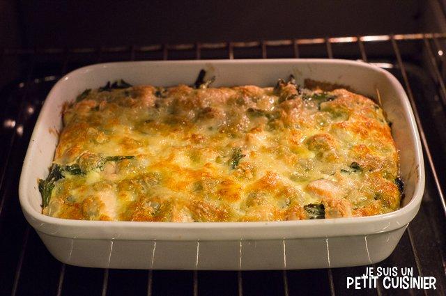 Gratin de ravioles au saumon et aux épinards (grill)