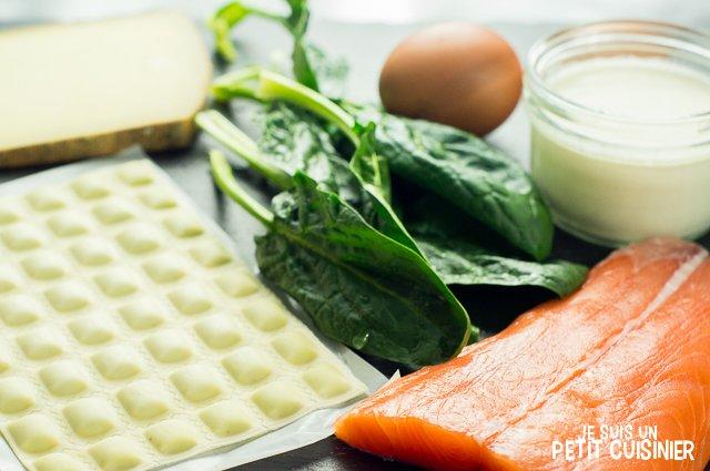Gratin de ravioles au saumon et aux épinards (ingrédients)