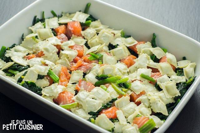 Gratin de ravioles au saumon et aux épinards (plat à gratin)