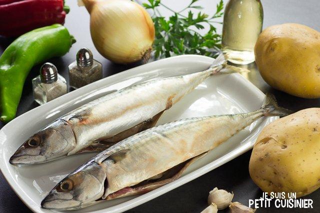 Maquereau au four sur lit de pommes de terre et poivrons (ingrédients)