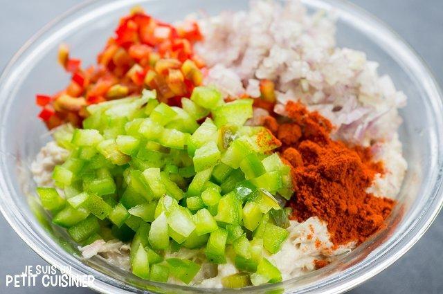 Rillettes de thon aux poivrons (ajouter les leǵumes)