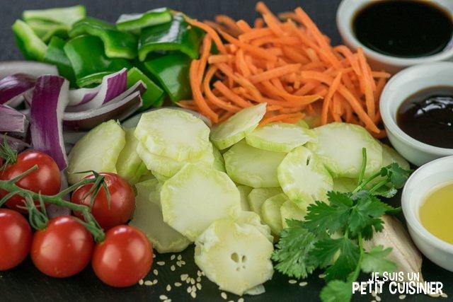 Wok de légumes aux tiges de brocoli (ingrédients)