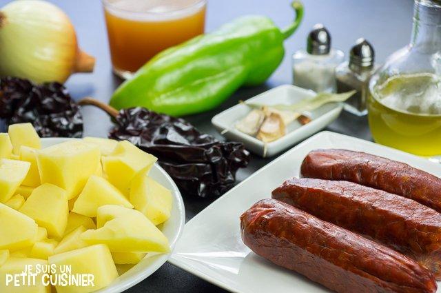 Ragoût de pommes de terre au chorizo (ingrédients)