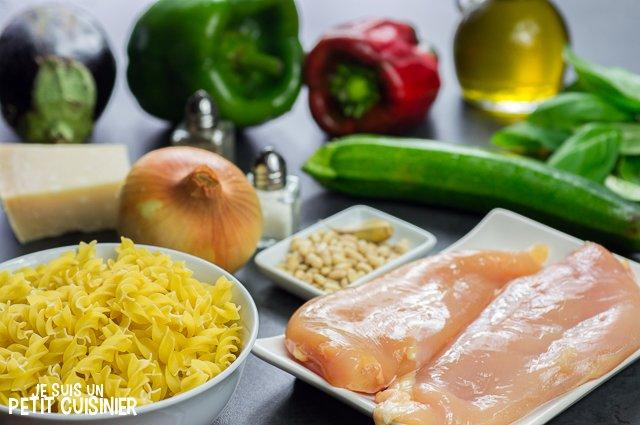 Salade de pâtes au pesto, poulet et légumes (ingrédients)