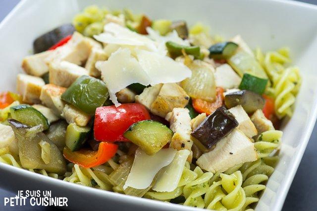 Salade de pâtes au pesto, poulet et légumes