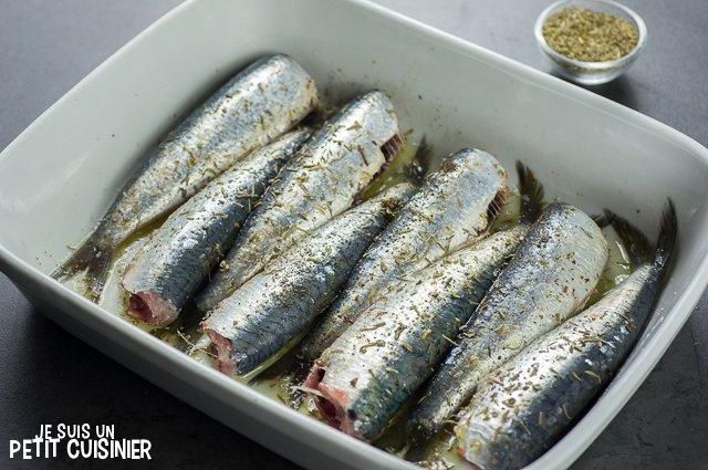 Sardines au four aux herbes de Provence (saupoudrer)