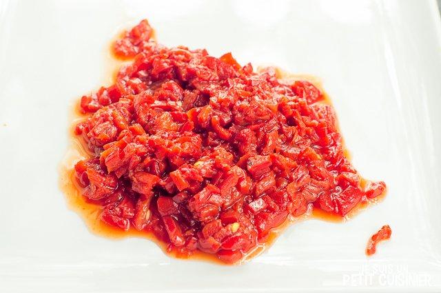 Pâtes aux poivrons de « piquillo » (petits carrés)