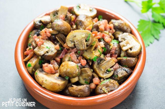 Champignons au jambon cru