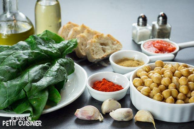 Pois chiches aux épinards (ingrédients)