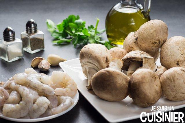 Poêlée de champignons aux crevettes (ingrédients)