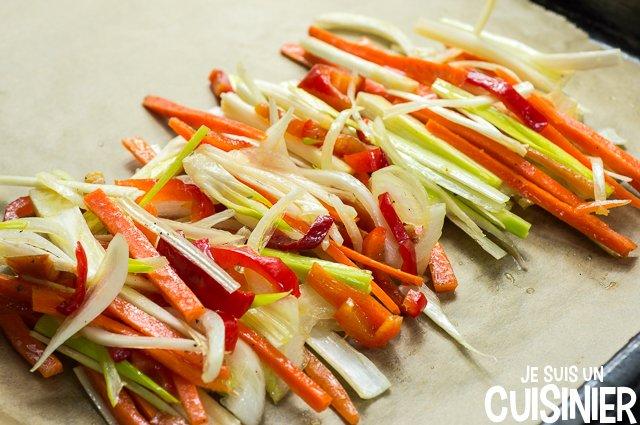 Saumon en papillote aux légumes (feuille de papier de cuisson)