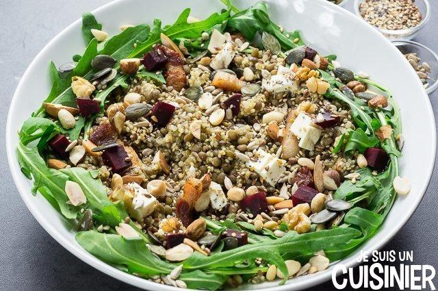 Salade de quinoa et lentilles (graines)