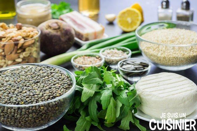 Salade de quinoa et lentilles (ingrédients)